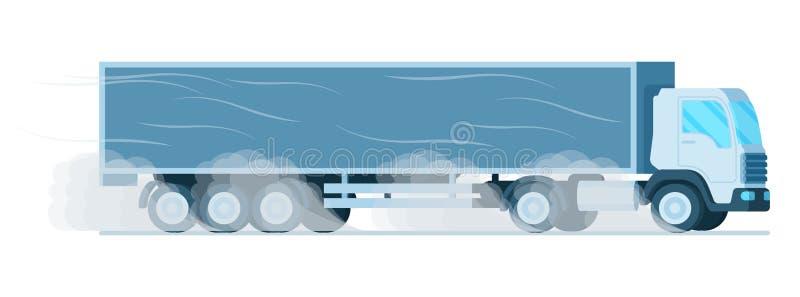 Grey Storage Delivery Truck Driving grande rapidamente ilustração do vetor