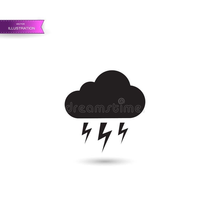 Grey Storm-pictogram op witte achtergrond wordt geïsoleerd die Wolk en bliksemteken Weerpictogram van onweer Vector vector illustratie