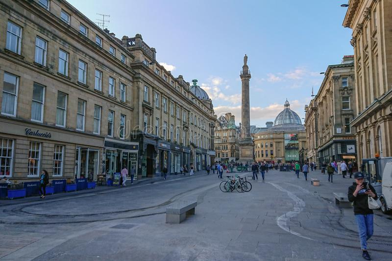 Grey Street, Newcastle upon Tyne, UK, looking towards Grey`s Monument to Earl Grey. Grey Street in Newcastle, England, looking towards Grey`s Monument to Earl stock image