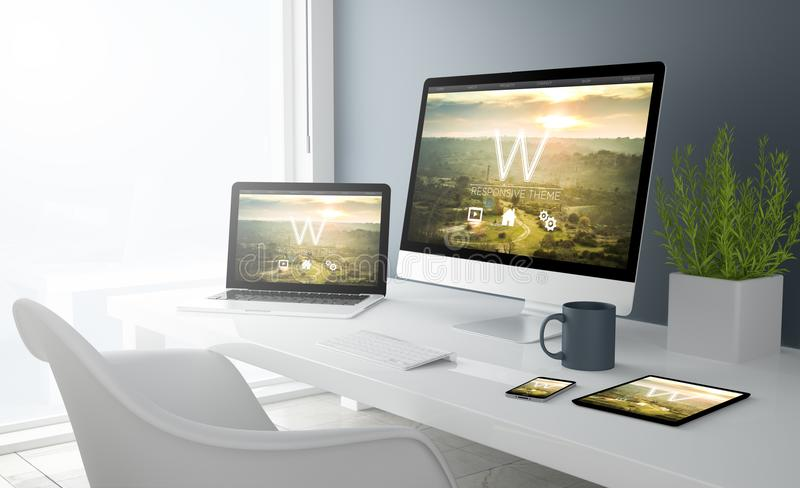 grey studio devices with modern design website stock illustration