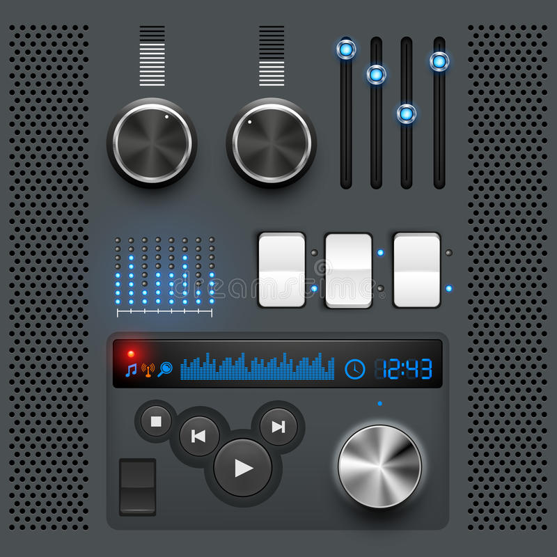 Grey GUI User Interface. Grey style user interface, vector illustration, layered royalty free illustration