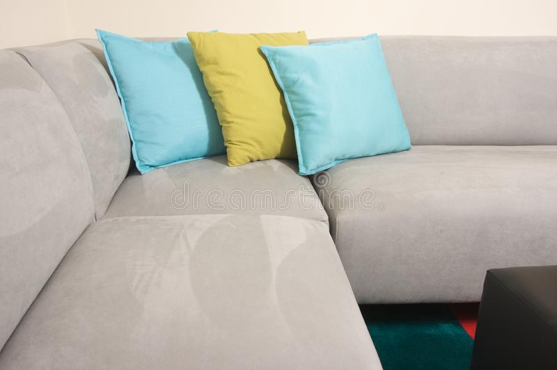 Grey Suede Couch Corner Area Stock Photography