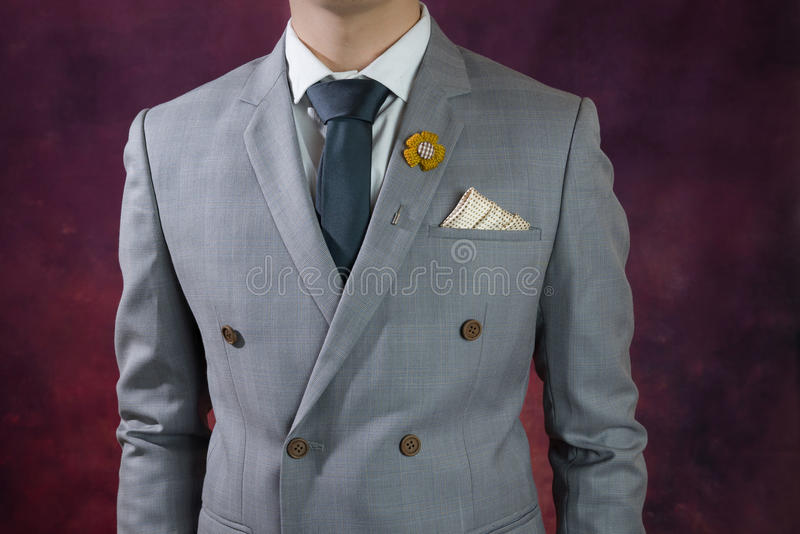 Grey suit plaid texture, double breasted royalty free stock images