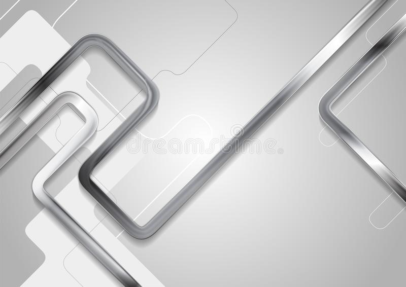 Grey tech abstract background with metallic stripes stock illustration