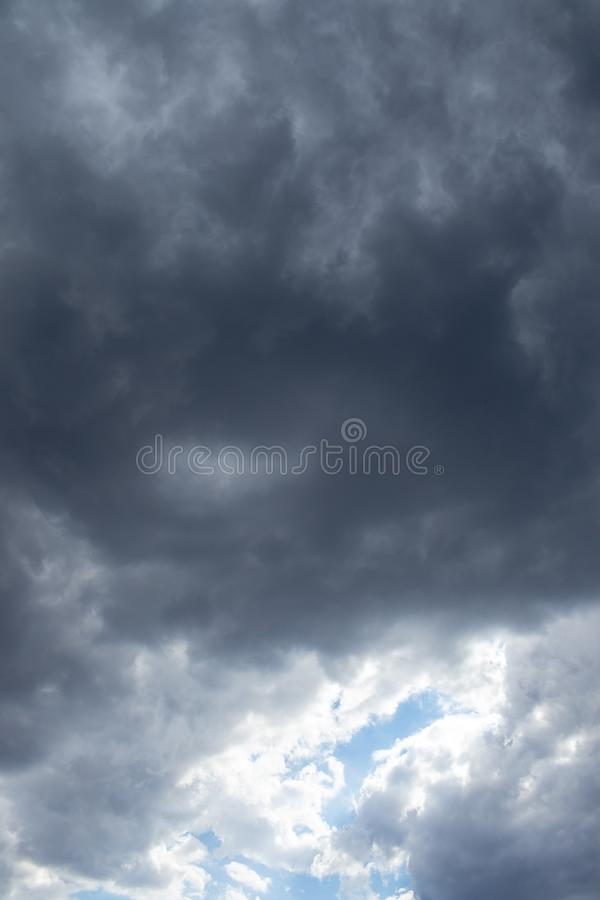 Thunder storm clouds building over the Gauteng Highveld in South Africa. Grey threatening thunder storm clouds image for background use image with copy space stock photography