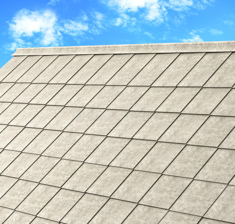 Grey tile roof of construction house with blue sky stock illustration