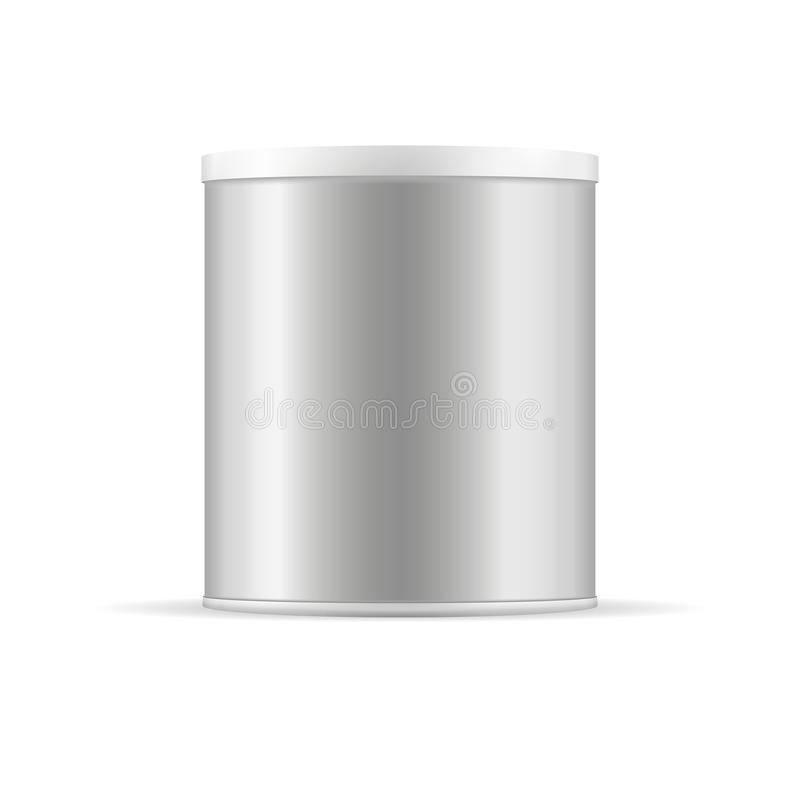 Grey tin can with plastic cap. Silver vector container. royalty free illustration
