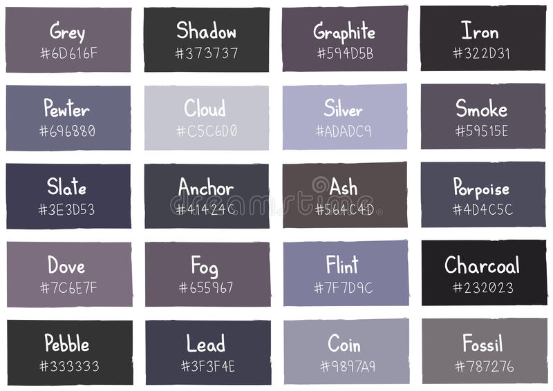 Grey Tone Color Shade Background With Code And Name Stock