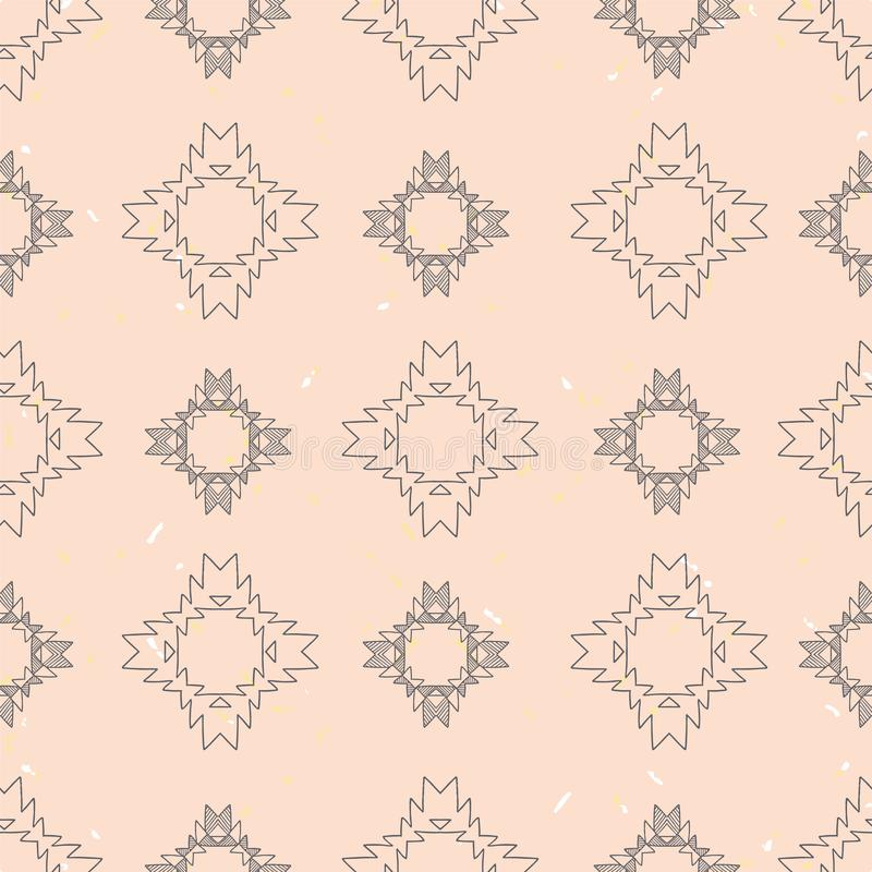 Grey tribal abstract on pink textured background seamless pattern. Grey tribal abstract on pink textured backgroundseamless pattern. Great for folk modern vector illustration