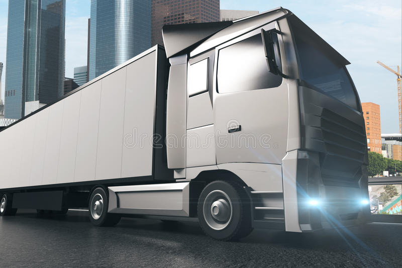 Grey truck sideview stock illustration