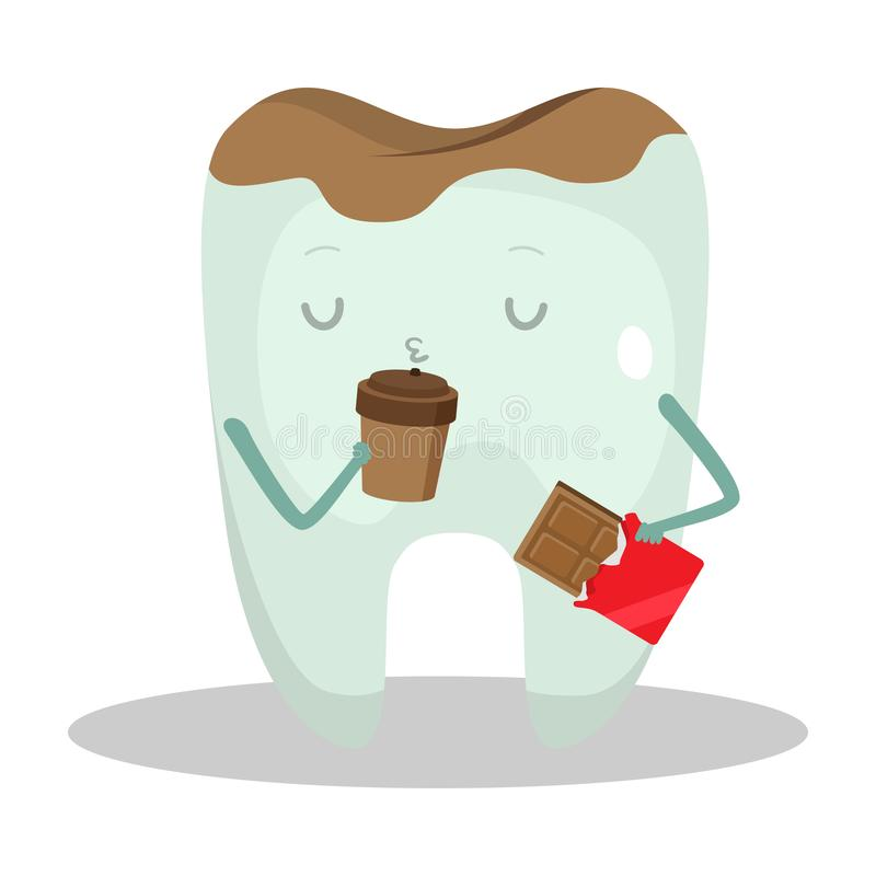 Grey unhealthy tooth drinking coffee and eating chocolate vector illustration royalty free stock images