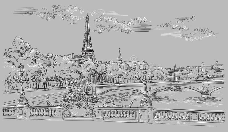 Grey vector hand drawing Paris 8. Vector hand drawing Illustration of Eiffel Tower Paris, France. Landmark of Paris. Cityscape with Eiffel Tower and Pont stock illustration