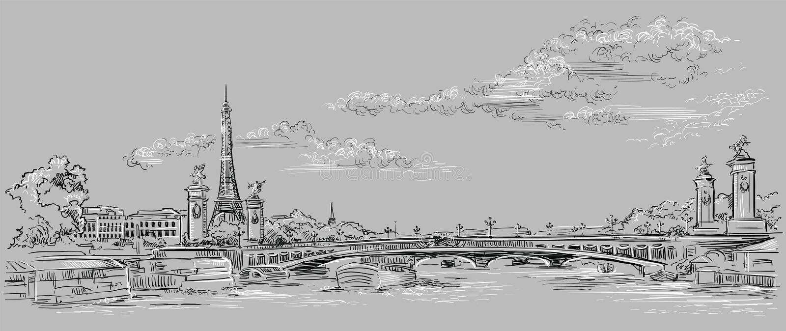 Grey vector hand drawing Paris 4. Vector hand drawing Illustration of Eiffel Tower Paris, France. Landmark of Paris. Panoramic cityscape with Eiffel Tower and stock illustration