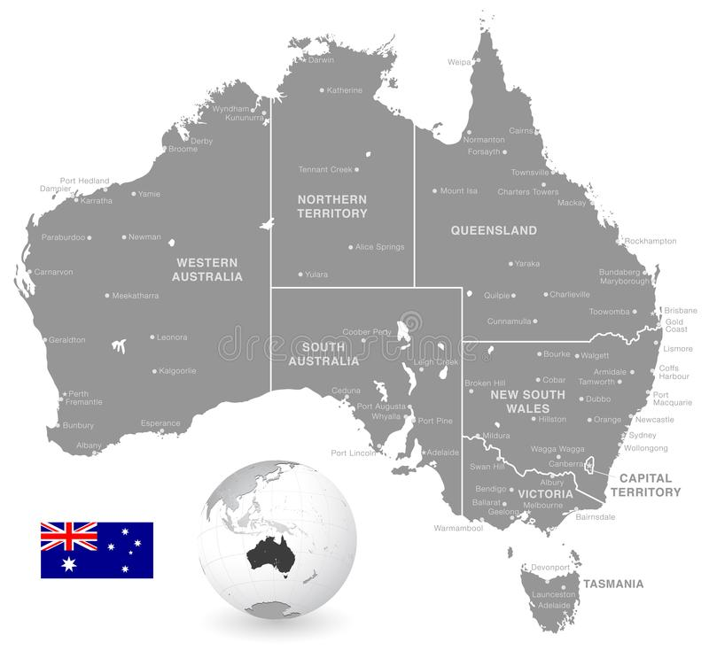 Grey Vector Political Map of Australia royalty free illustration