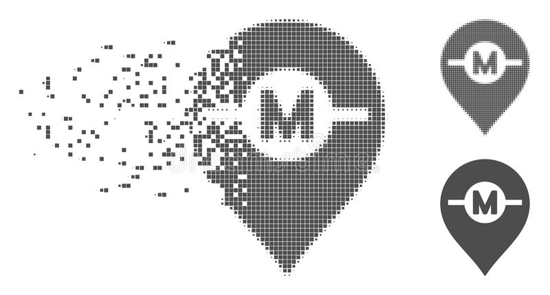 Destructed Pixel Halftone Motor Marker Icon. Grey vector motor marker icon in dispersed, dotted halftone and undamaged whole versions. Disintegration effect vector illustration