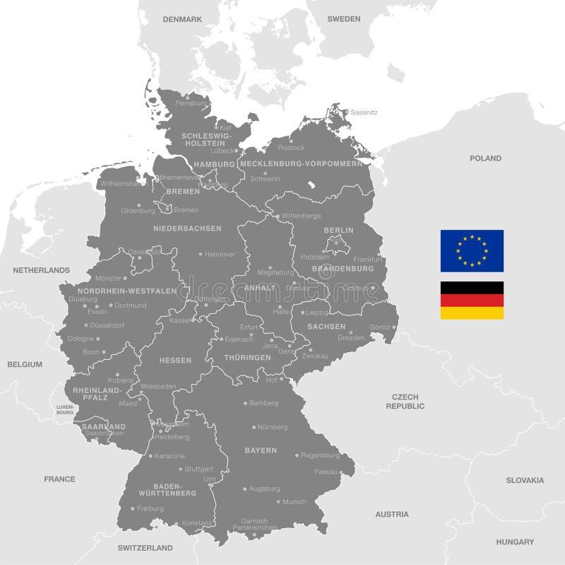 Grey Vector Political Map av Tyskland vektor illustrationer