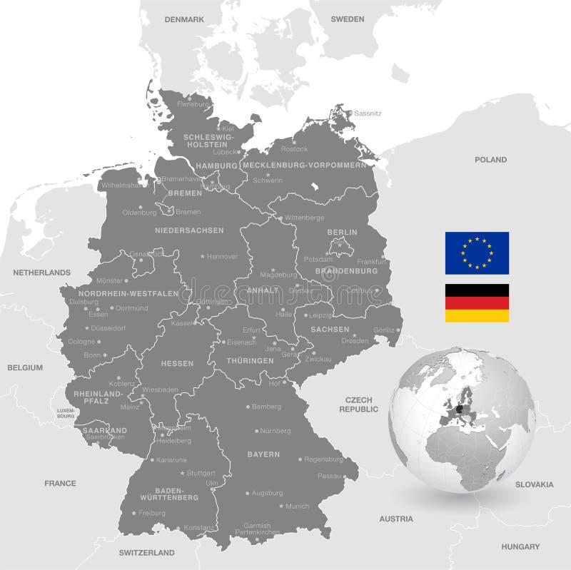 Grey Vector Political Map av Tyskland stock illustrationer
