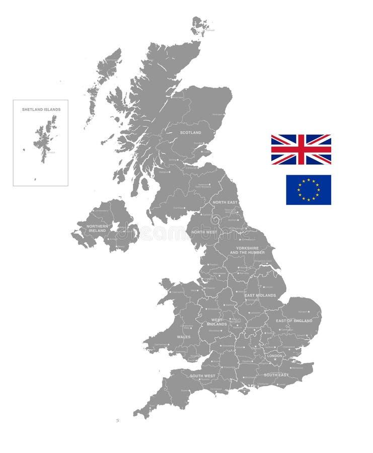 Grey Vector Political Map del Reino Unido libre illustration
