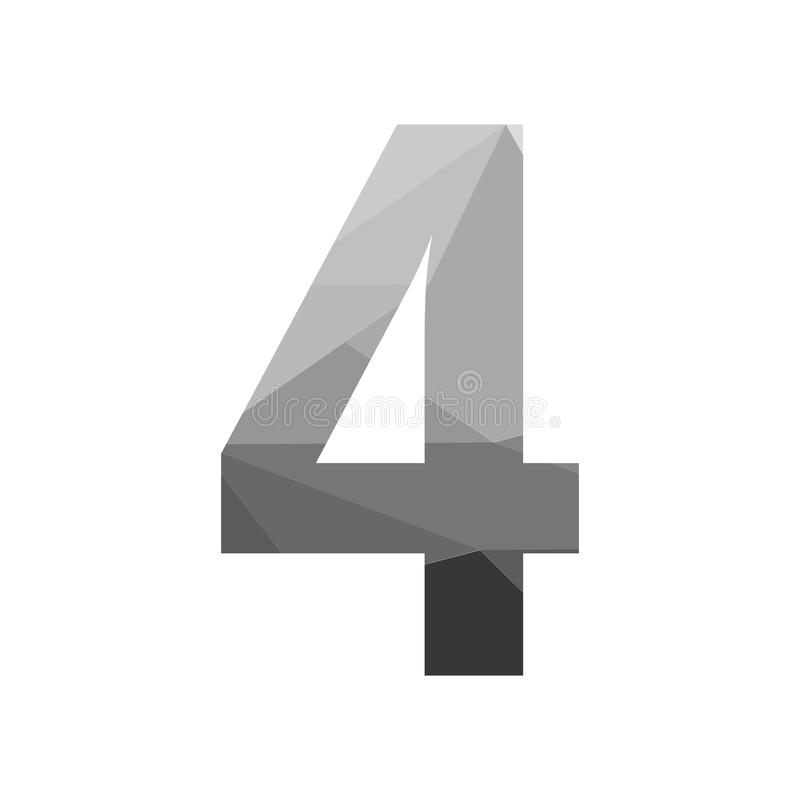 Grey vector polygon four number font with long shadow. royalty free illustration