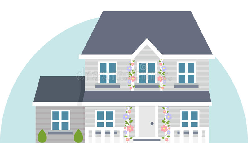 Grey vector two story house vector illustration
