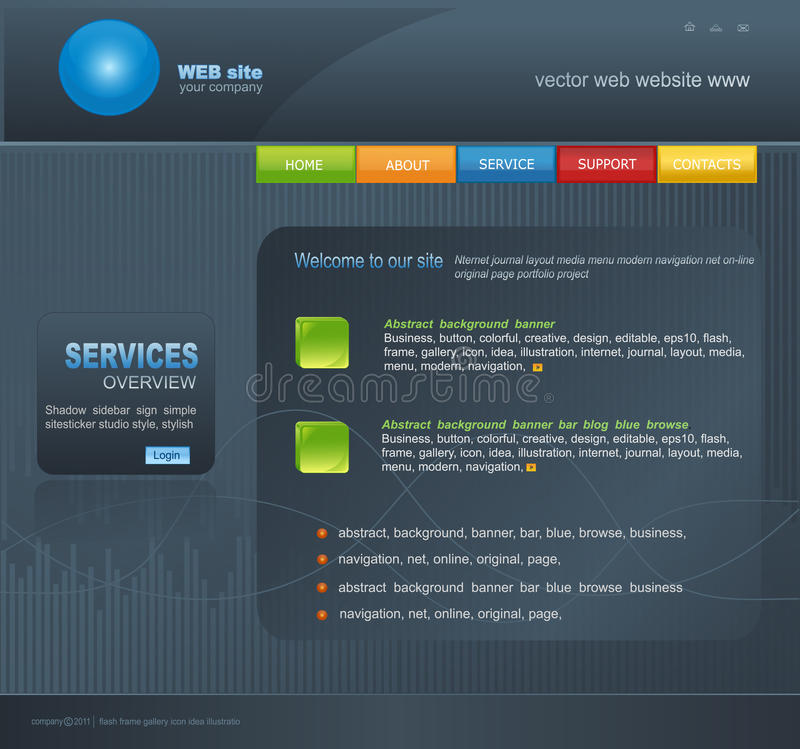 Grey Vector Web site for business stock illustration