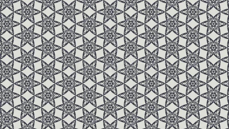 Grey Vintage Decorative Floral Ornament-Hintergrund-Muster-Entwurfs-Schablonen-schöne elegante Illustration stock abbildung