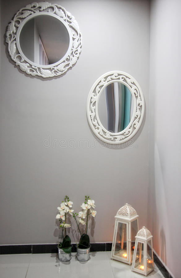 Wall With Mirrors Stock Images