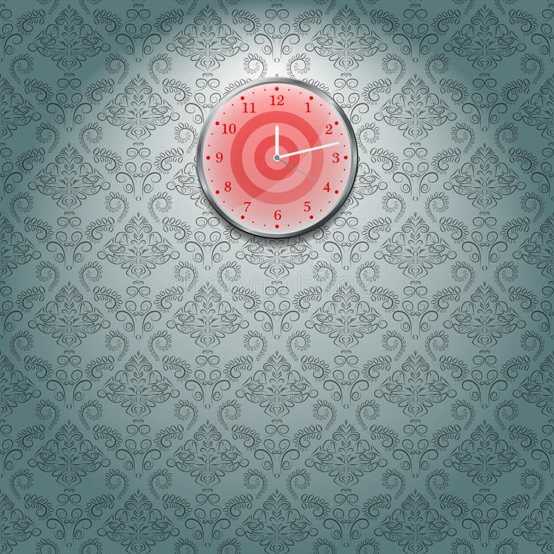 Grey Wallpaper And Clock Royalty Free Stock Photos