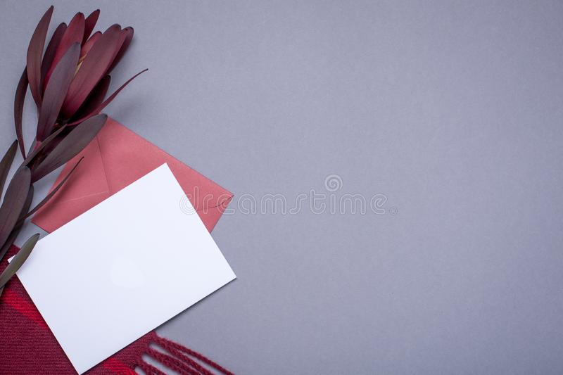 Grey wallpaper with gift card and burgundy wrap. Top view royalty free stock photography