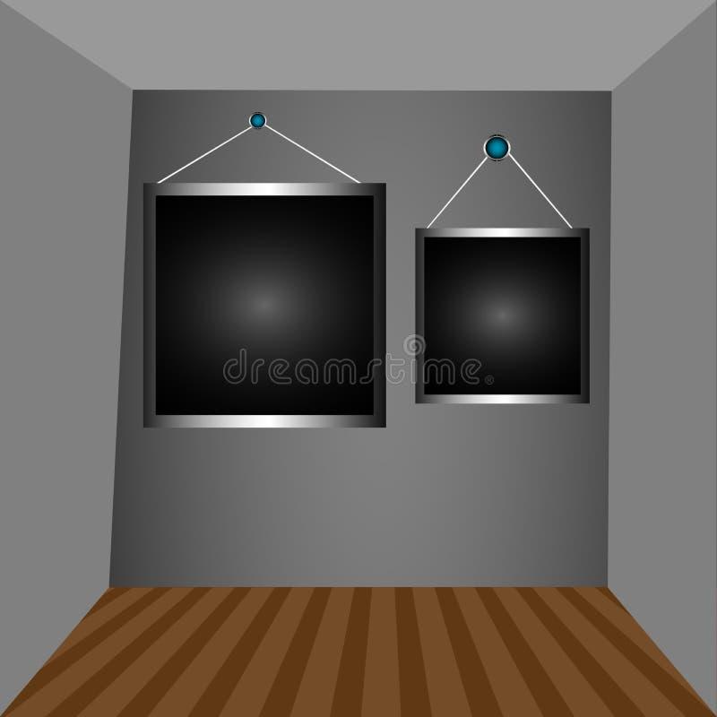 Grey Walls And Dark Frames Royalty Free Stock Photos