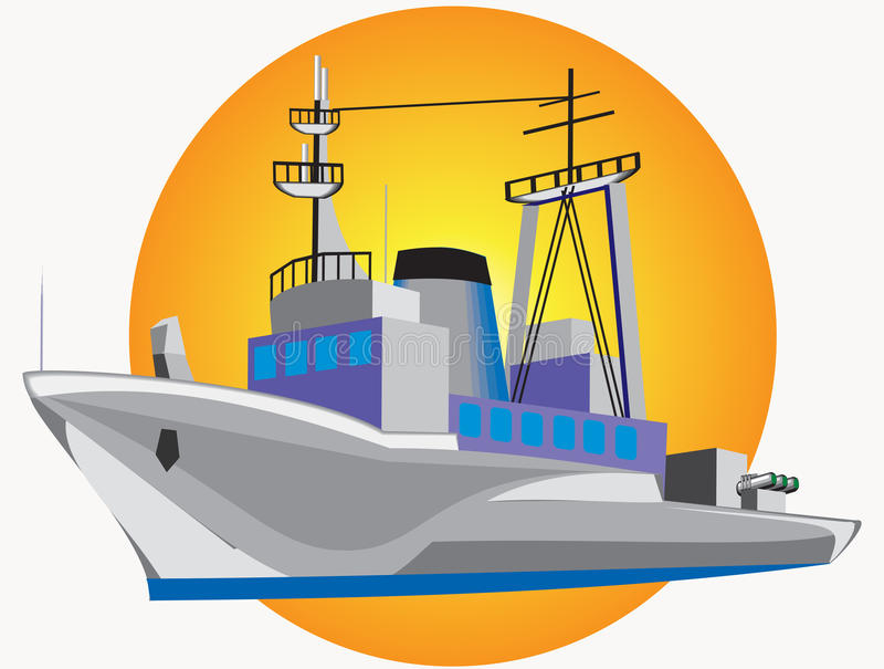 Download Grey warship stock vector. Image of cruiser, mast, power - 20508148
