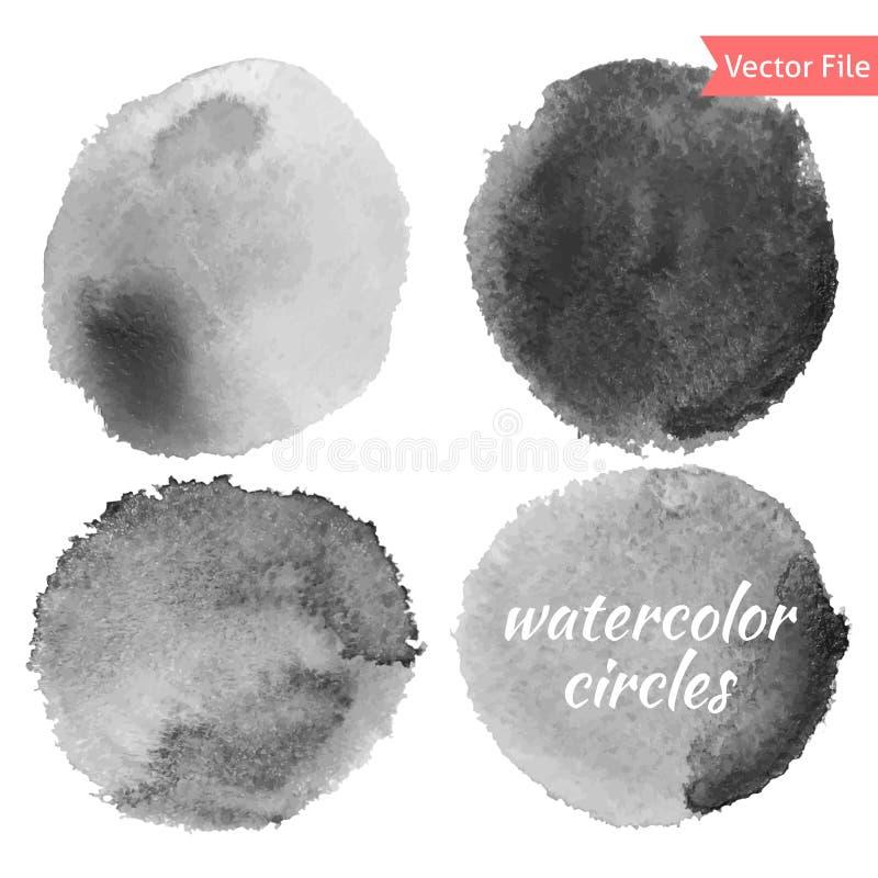 Grey Watercolor Vector Circles Set illustration libre de droits