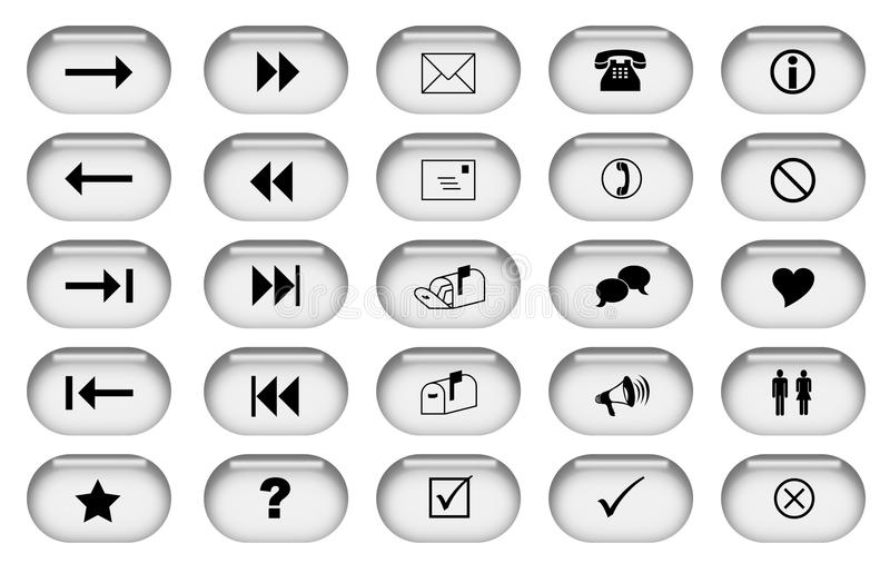 Grey Web Buttons Stock Photo