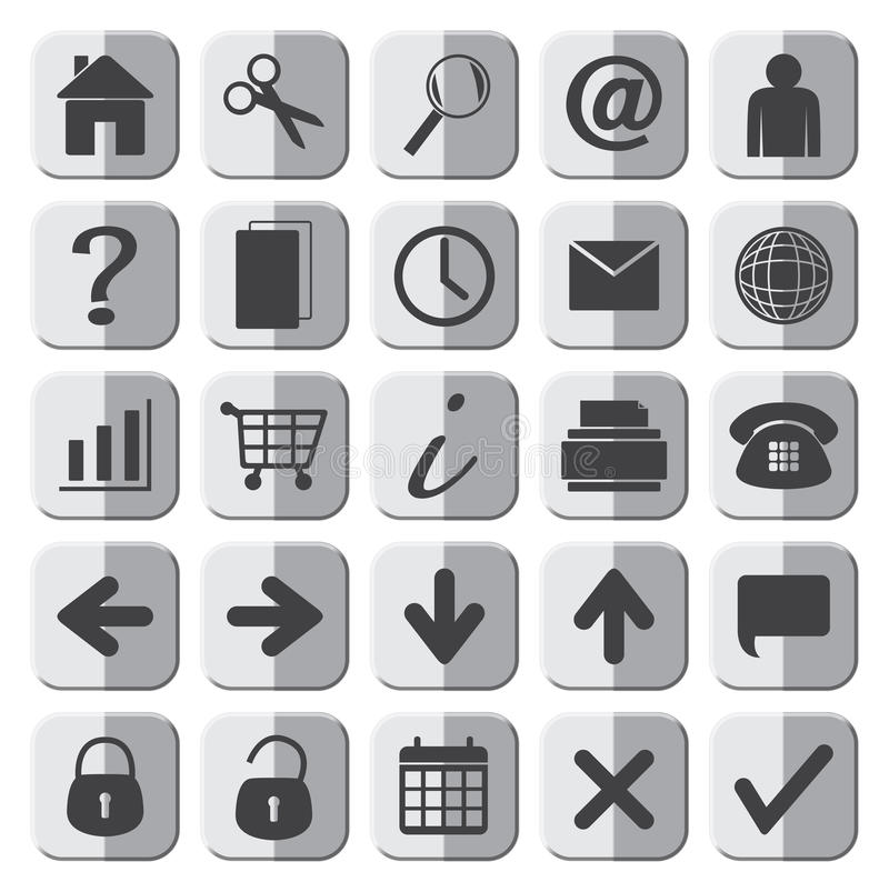 25 Grey Web Icons Set vektor abbildung