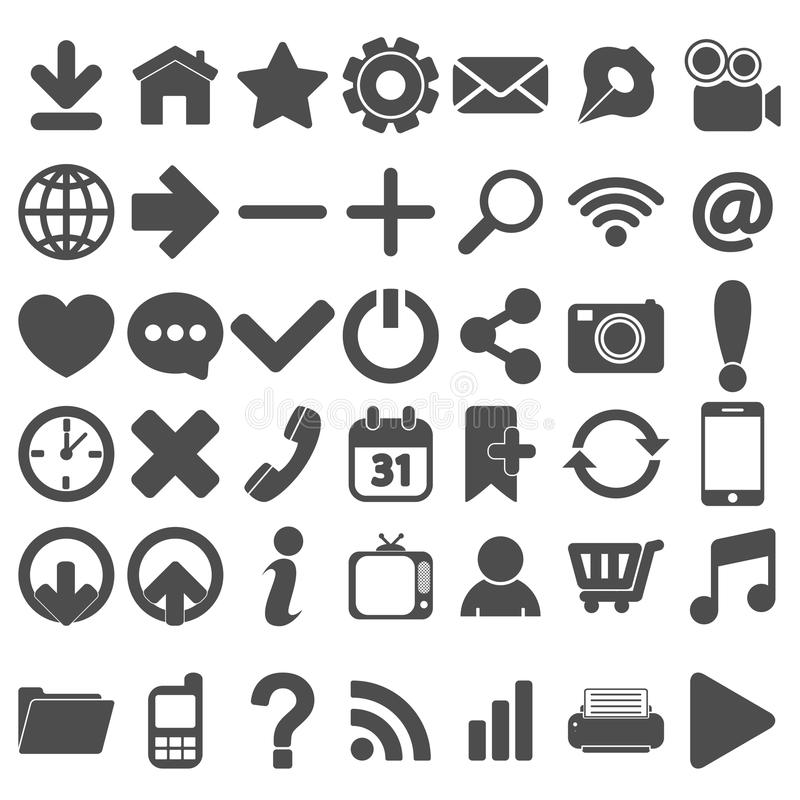 Grey Web Icons Set en blanco stock de ilustración