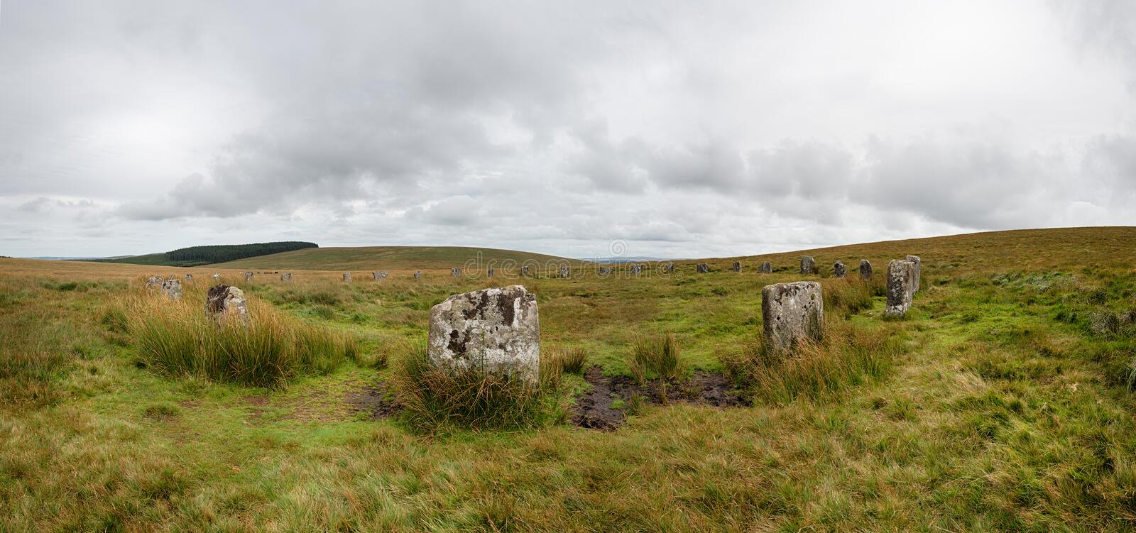 Grey Wethers Stone Circle Panorama stock foto's