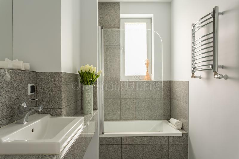 Grey and white bathroom. Modern decor of new grey and white bathroom stock photography