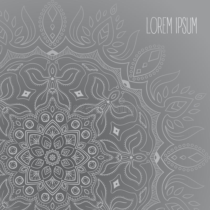 Grey and white mandala postcard royalty free stock photos