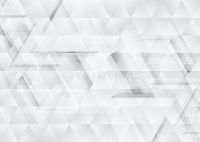 Grey and white tech triangles texture background royalty free illustration