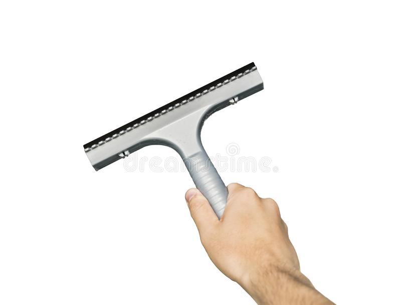 Grey window glass squeegee in male hand isolated on white background. Cleaning supplies. Man angularly holds cleaner to stock images