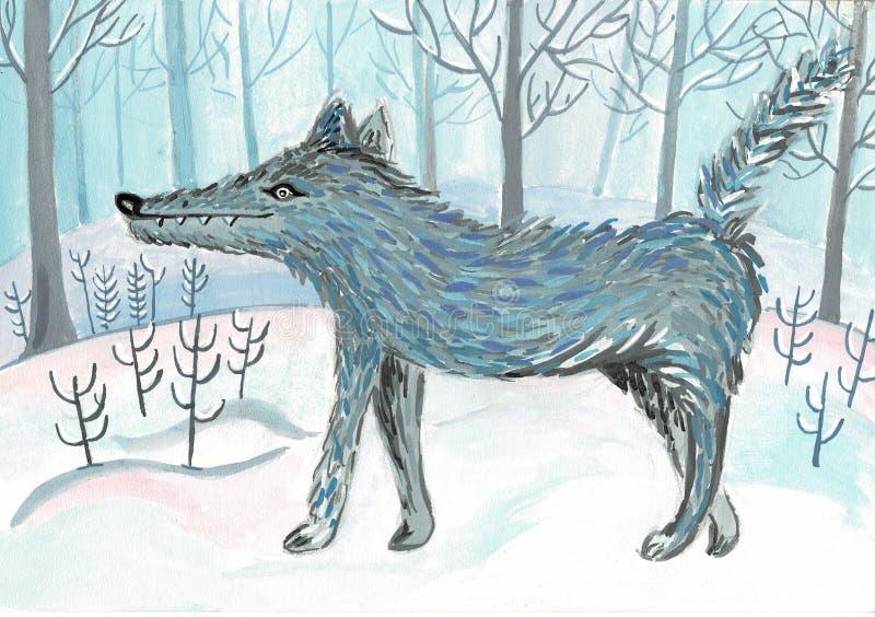 Cartoon wolf, cute character for children. Raster illustration in cartoon style. stock illustration