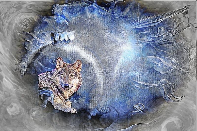 Grey Wolf Fine Art/fondo de la tarjeta de felicitación stock de ilustración