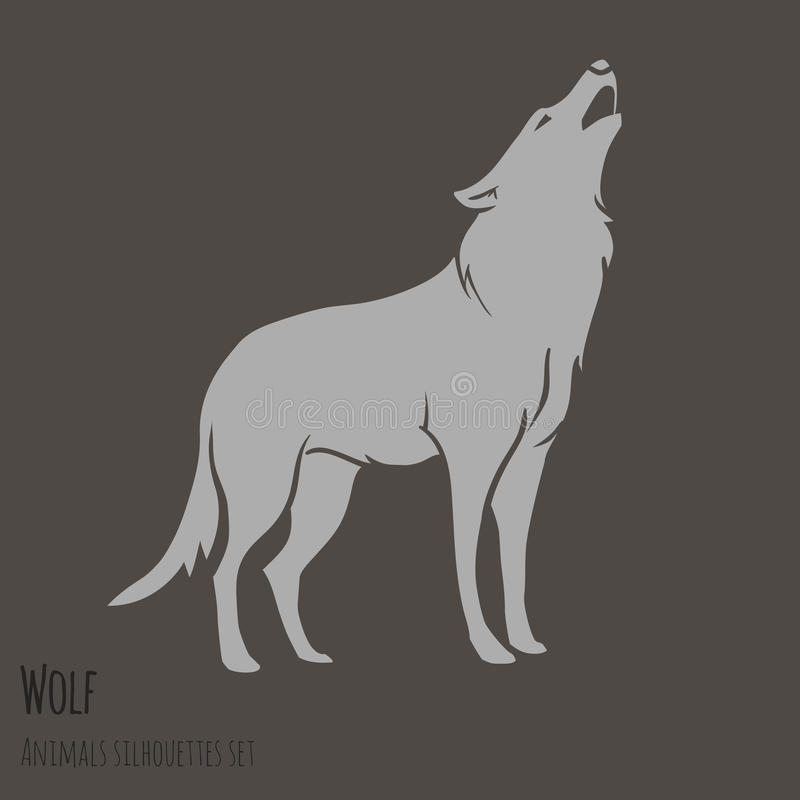 Grey Wolf Silhouette stock illustration