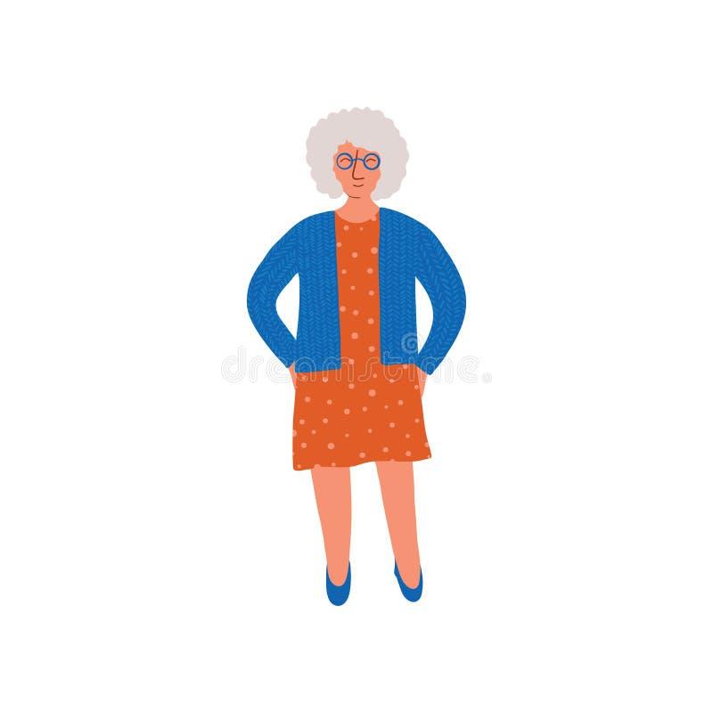 Grey Woman anziano, signora senior Standing con l'illustrazione di vettore di vetro illustrazione di stock