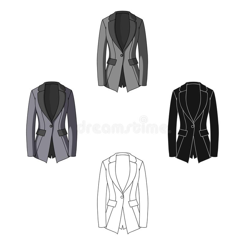 Grey Women s jacket with pockets. Work austere style.Women clothing single icon in cartoon,black style vector symbol. Stock web illustration vector illustration