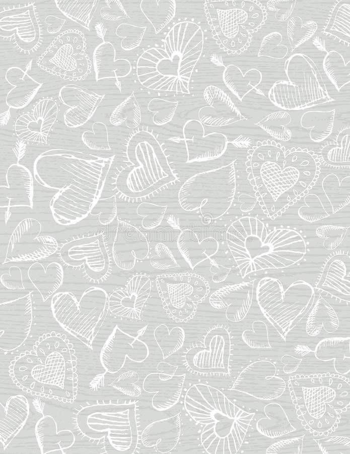 Download Grey Wooden  Background With Hand Draw  Hearts Stock Vector - Illustration: 17365092