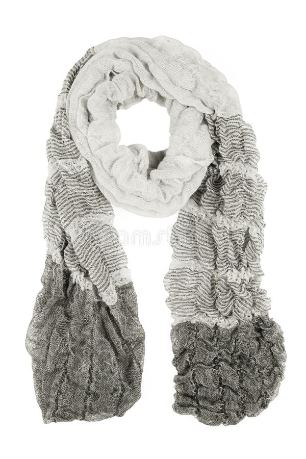 Grey wool scarf isolated on white background. Female accessory royalty free stock image