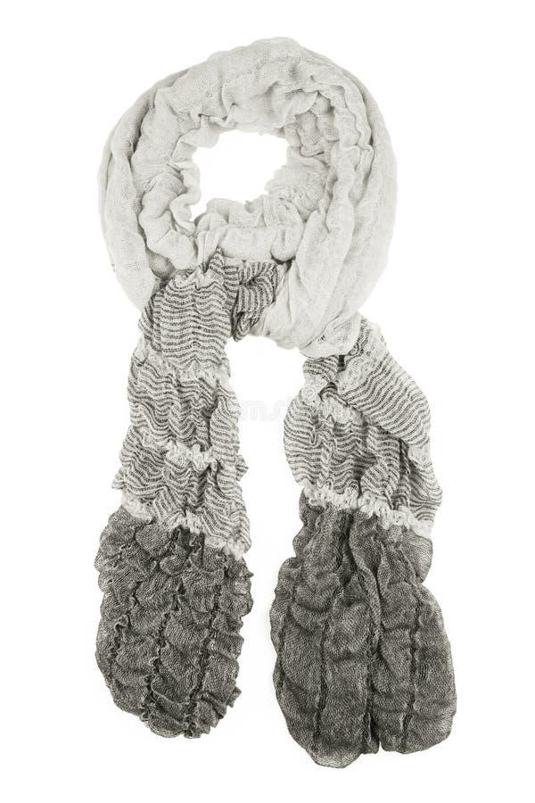 Grey wool scarf isolated on white background. Grey wool scarf isolated on white background. Female accessory. Grey wool scarf isolated on white background stock image