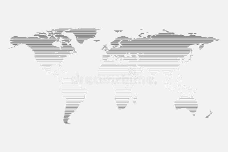 Grey World-Karte von den Linien lokalisiert auf weißem Hintergrund Flache Kugelschablone für Websitedesign, infog vektor abbildung