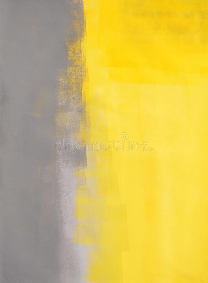 Grey and Yellow Abstract Art Painting royalty free stock images